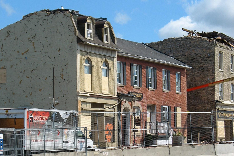 50 West Street, following the tornado (Photo courtesy of Bob Davis)