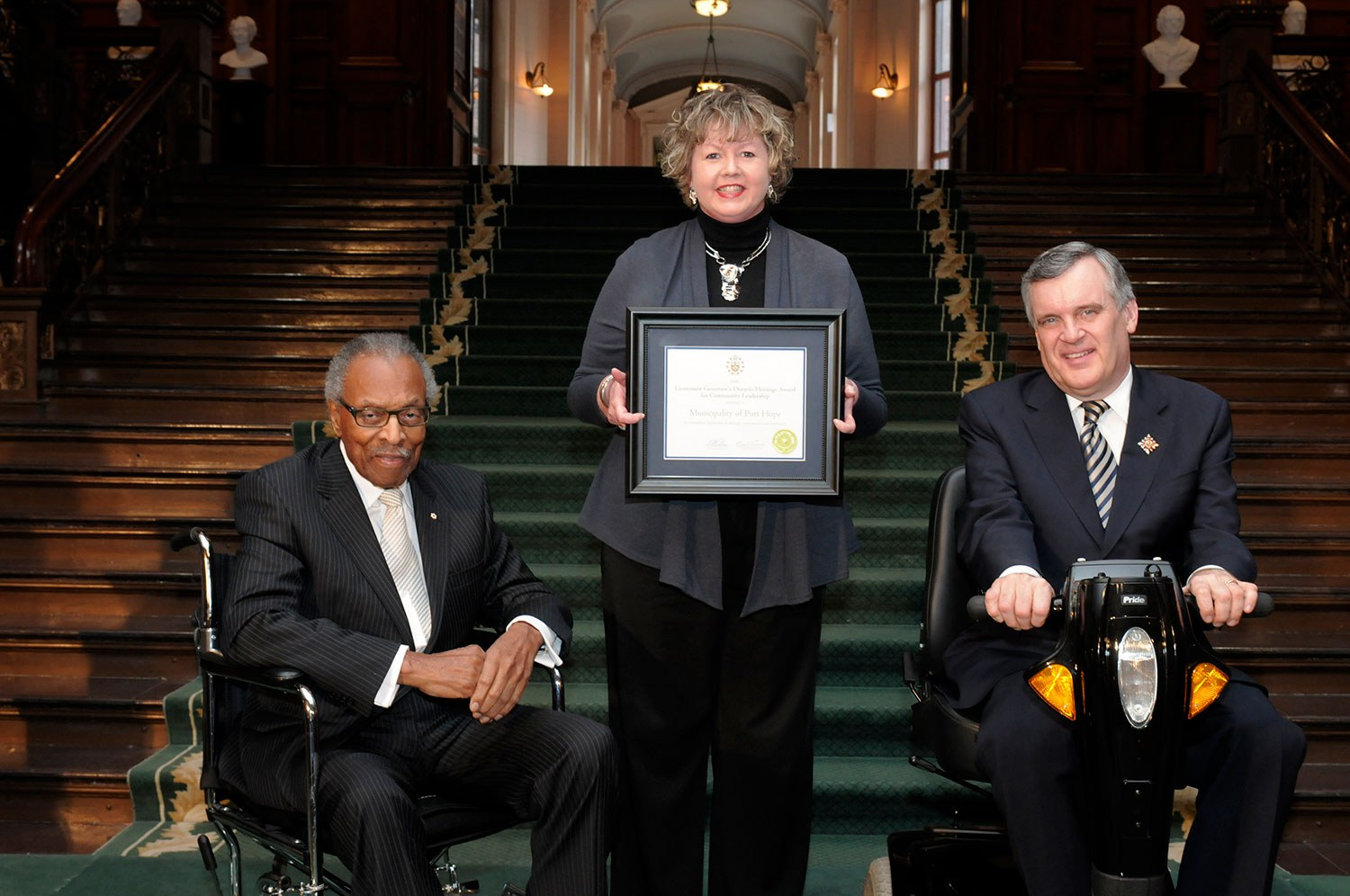 Port Hope was a recipient of a Community Leadership Award in 2008. The award was presented to Councillor Karen O'Hara by Lincoln M. Alexander, former Chairman of the Ontario Heritage Trust, and David C. Onley, Ontario's Lieutenant Governor. (Photo: Tessa J. Buchan)