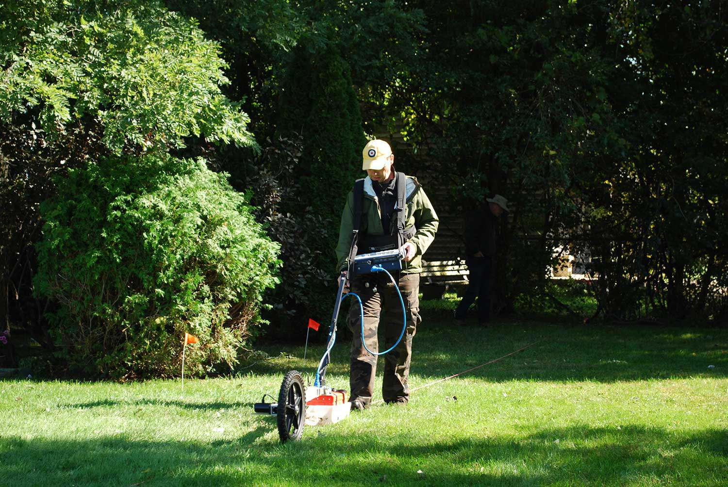 Using ground penetrating radar at the Henson Family Cemetery in 2011.