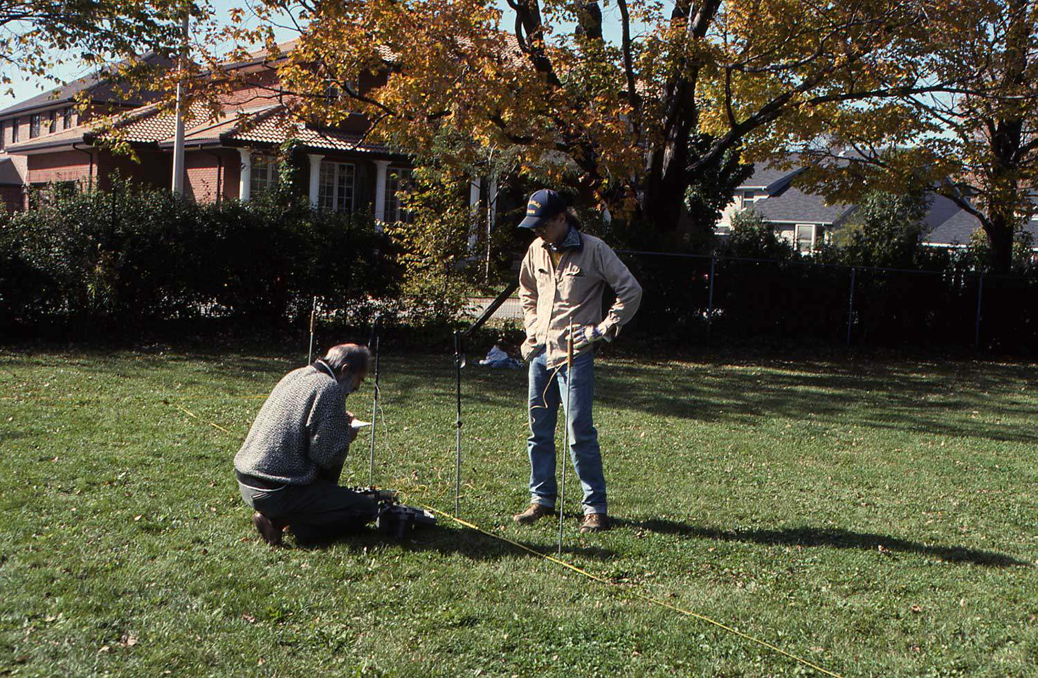 Several geophysical methods were used at the Trust's Chedoke Estate in Hamilton, including resistivity (shown in photo), magnetometer and electromagnetic survey.