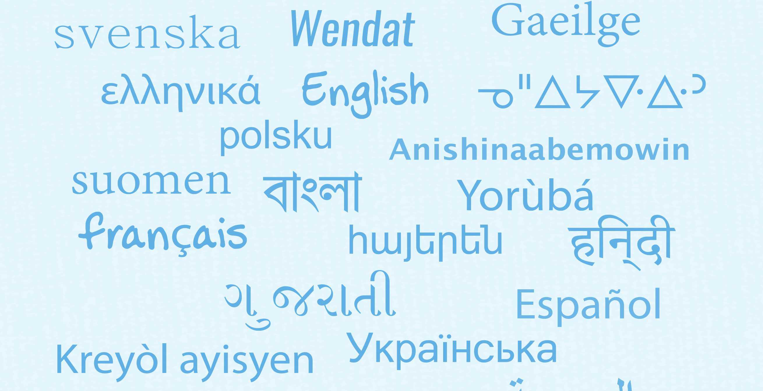 Word cloud of different languages