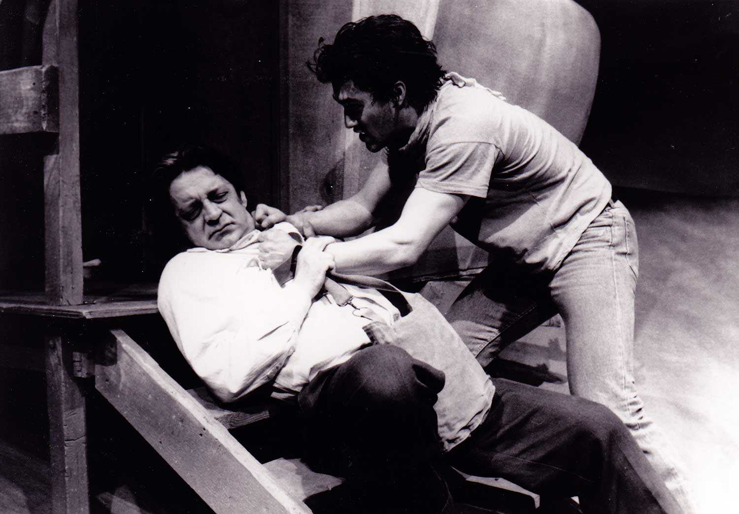 A scene from Le Chien, a play by Jean Marc Dalpé, from Théâtre du Nouvel-Ontario's 1987-88 season. Used with permission.