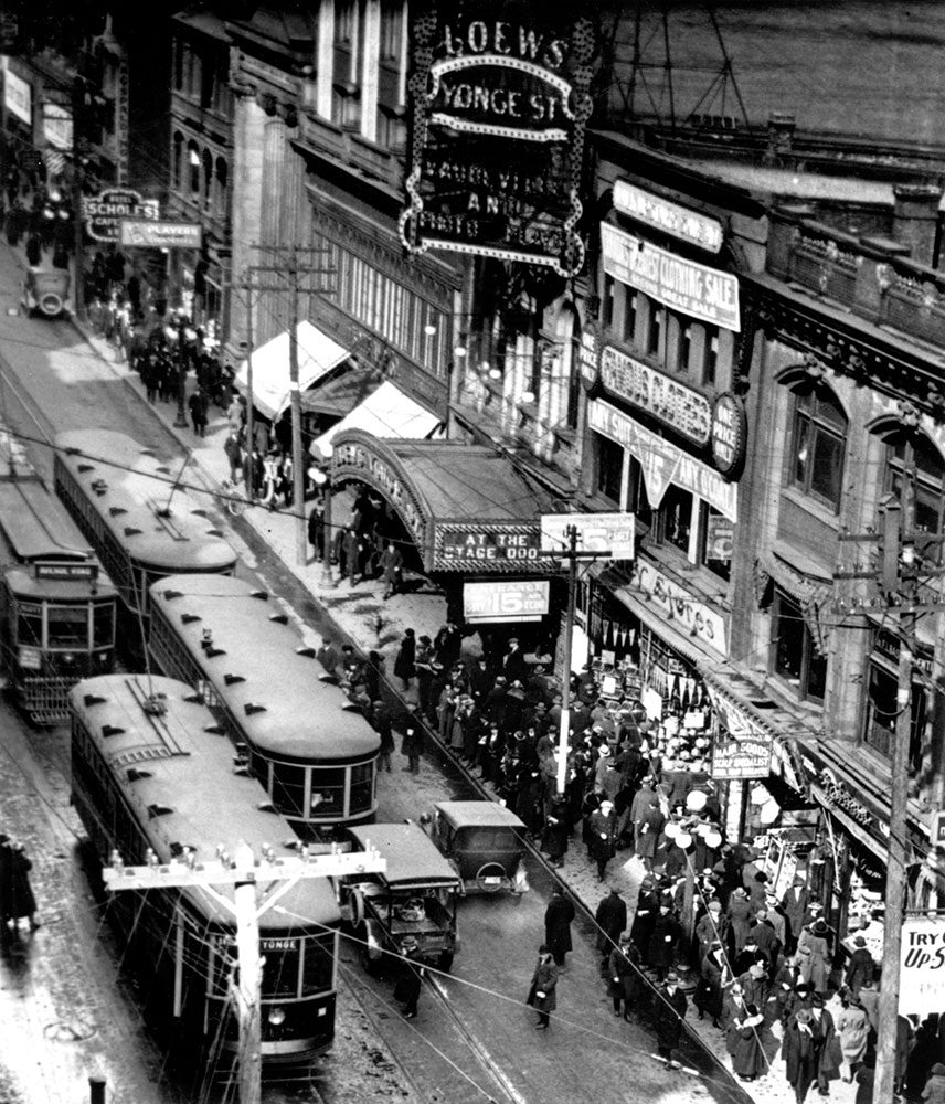 Out front of Loew's Yonge Street theatre in the 1920s (Photo: Toronto Transit Commission Archives)