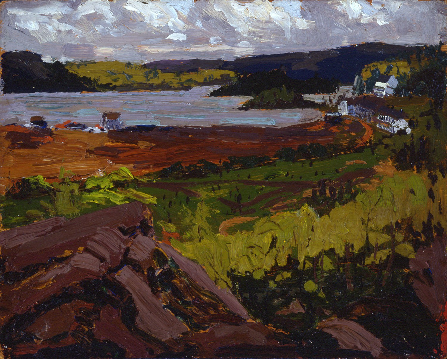 Tom Thomson, Canoe Lake, Mowat Lodge, 1914, oil on plywood, 21.4 x 26.7 cm. Collection of the Tom Thomson Art Gallery, Owen Sound. Gift of the Ontario Heritage Trust and the Estate of Stewart and Letty Bennett, 1988.