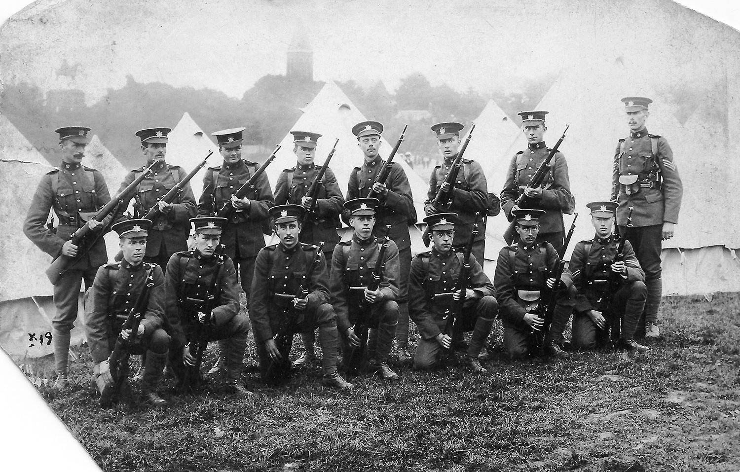 Looking considerably more martial is this group of finely turned-out soldiers from Toronto's Queen's Own Rifles, stationed in England before the start of the First World War.