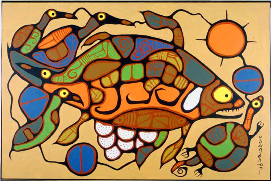 Life Regenerating, 1977, by Norval Morrisseau. Acrylic on canvas, 99.1 x 149.9 cm. Government of Ontario Art Collection, Archives of Ontario, 623855.